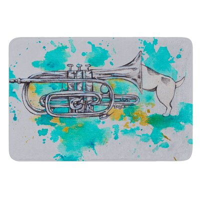 Hunting For Jazz Blue by Kira Crees Bath Mat Size: 17 W x 24 L