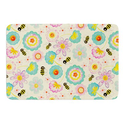 Floral Bee by Louise Machado Bath Mat