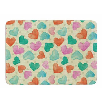 Watercolor Hearts by Louise Machado Bath Mat