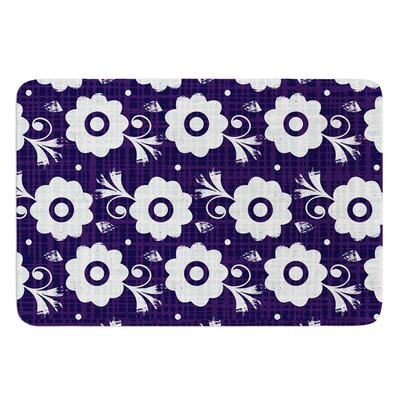 Navy Flower by Louise Machado Bath Mat