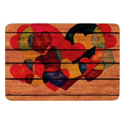 Wooden Heart by Louise Machado Bath Mat