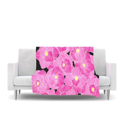 In Bloom Fleece Throw Blanket Size: 80 L x 60 W, Color: Pink