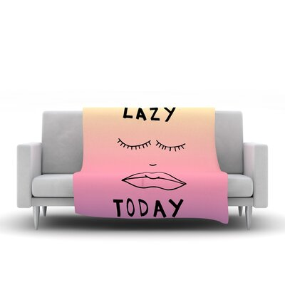 Lazy Today Fleece Throw Blanket Size: 40 L x 30 W, Color: Yellow Pink