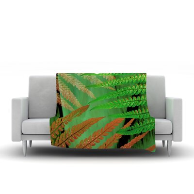 Forest Fern by Alison Coxon Fleece Throw Blanket Size: 40 L x 30 W, Color: Russet