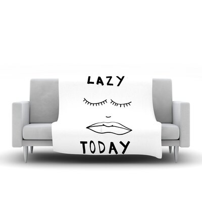 Lazy Today Fleece Throw Blanket Size: 60 L x 50 W, Color: White