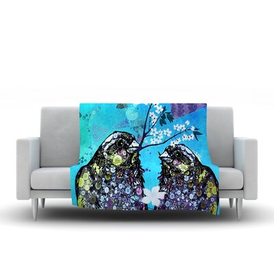 Birds In Love Fleece Throw Blanket Size: 80 L x 60 W, Color: Blue