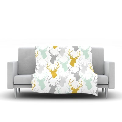 Scattered Deer by Pellerina Design Fleece Throw Blanket Size: 60 L x 50 W, Color: White