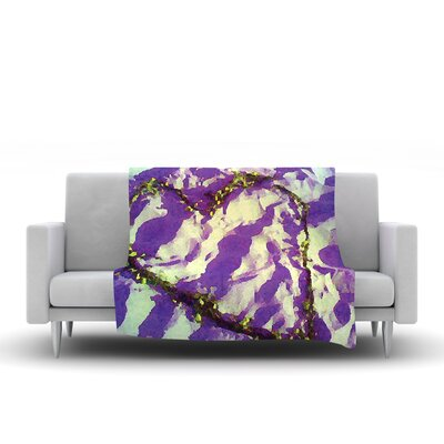 Tiger Love by Anne Labrie Fleece Throw Blanket Size: 60 L x 50 W, Color: Purple