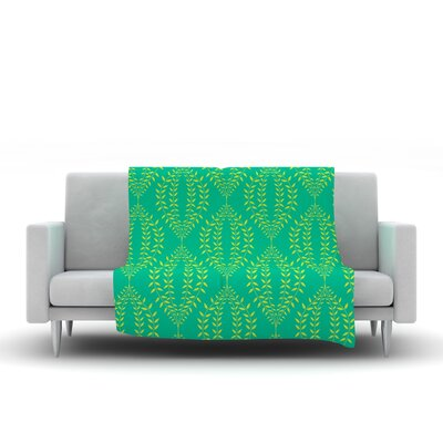 Laurel Leaf by Anneline Sophia Fleece Throw Blanket Size: 80 L x 60 W, Color: Green