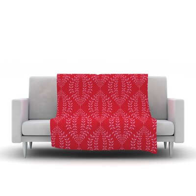 Laurel Leaf by Anneline Sophia Fleece Throw Blanket Size: 60 L x 50 W, Color: Red