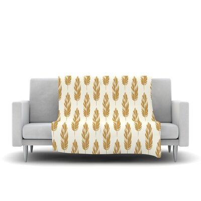 Feathers by Amanda Lane Fleece Throw Blanket Size: 80 L x 60 W, Color: Yellow/Cream