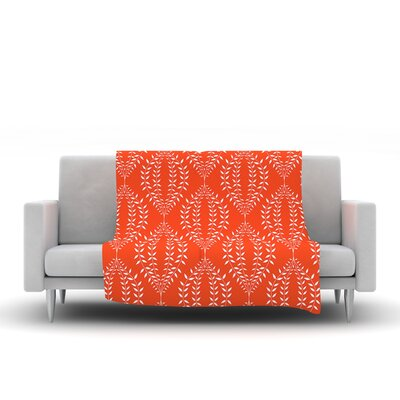 Laurel Leaf by Anneline Sophia Fleece Throw Blanket Size: 80 L x 60 W, Color: Orange