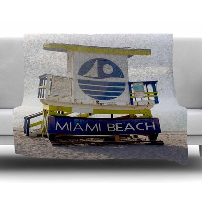 Miami Beach Lifeguard Stand by Philip Brown Fleece Blanket