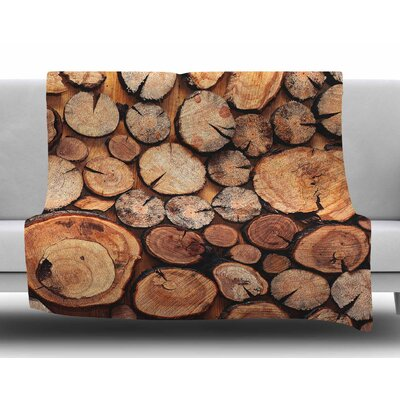 Rustic Wood Logs by Susan Sanders Fleece Blanket