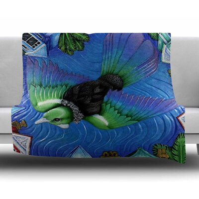 Tui Flying in Pacific Skies by Vinny Thompson Fleece Blanket