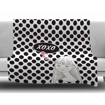 Xoxo Pop Art Polka Dot Girl by Zara Martina Mansen Fleece Blanket