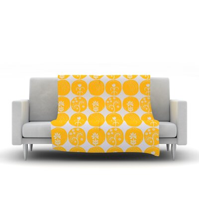 Dotty Papercut by Anneline Sophia Fleece Throw Blanket Size: 80 L x 60 W, Color: Yellow