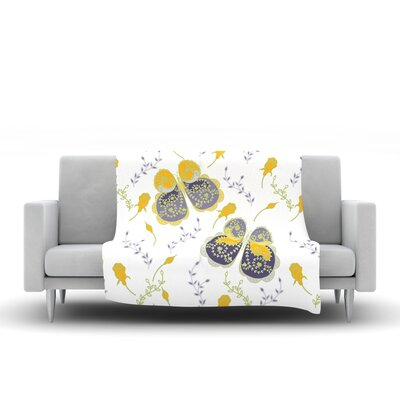 Leafy Butterflies by Anneline Sophia 40 Fleece Throw Blanket Size: 80 L x 60 W, Color: Yellow