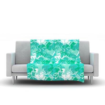 Marbleized In Gold Fleece Throw Blanket Size: 80 L x 80 W, Color: Seafoam