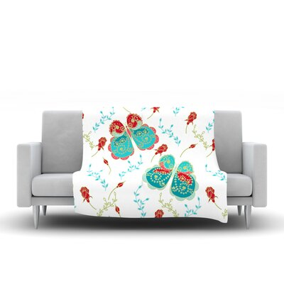 Leafy Butterflies by Anneline Sophia 40 Fleece Throw Blanket Size: 40 L x 30 W, Color: Red