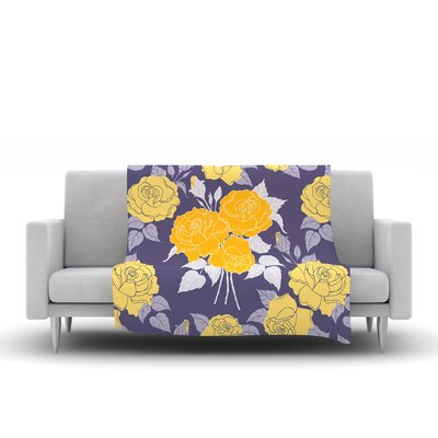 Summer Rose by Anneline Sophia Fleece Throw Blanket Size: 60 L x 50 W, Color: Yellow
