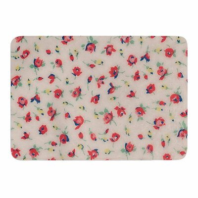 Vintage Flower Love by Robin Dickinson Memory Foam Bath Mat Size: 24 L x 17 W
