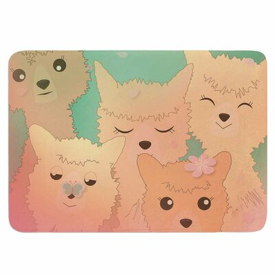 Spring Alpacas by Graphic Tabby Memory Foam Bath Mat Size: 24 L x 17 W