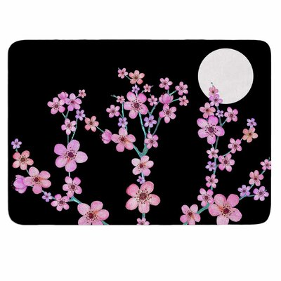 Cherry Blossom at Night by Julia Grifol Memory Foam Bath Mat Size: 24 L x 17 W