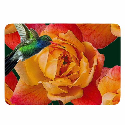 Roses in Hummingbird by Shirlei Patricia Muniz Memory Foam Bath Mat Size: 24 L x 17 W