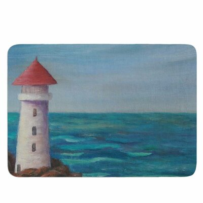 The Lighthouse Rocks by Cyndi Steen Memory Foam Bath Mat Size: 24 L x 17 W