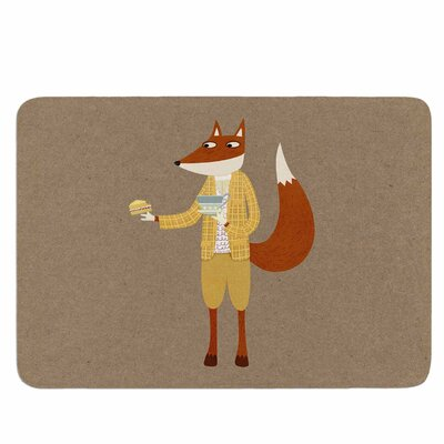 Mr Fox Takes Tea by Nic Squirrell Memory Foam Bath Mat Size: 36 L x 24 W