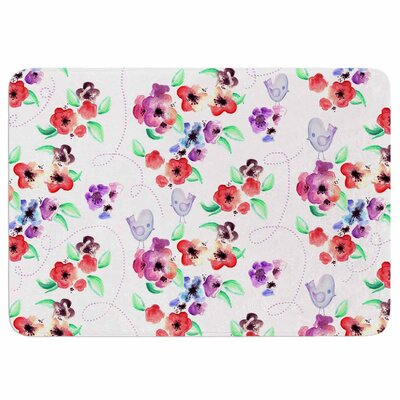 Spring Flowers and Birds by Zara Martina Mansen Memory Foam Bath Mat Size: 36 L x 24 W