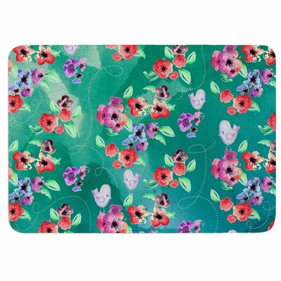 Spring Birds on Teal by Zara Martina Mansen Memory Foam Bath Mat Size: 24 L x 17 W