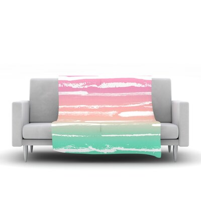 Painted Stripes by Anneline Sophia Fleece Throw Blanket Size: 60 L x 50 W, Color: Pink