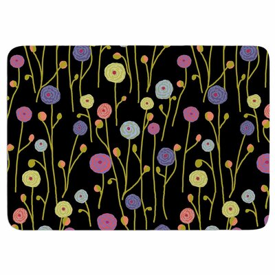 Ranunculas On Black by Laura Nicholson Memory Foam Bath Mat Size: 24 L x 17 W