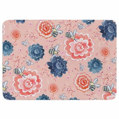 Bees Please by Nic Squirrell Memory Foam Bath Mat Size: 24 L x 17 W