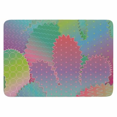 Colorful Cacti Garden by Graphic Tabby Memory Foam Bath Mat Size: 24 L x 17 W
