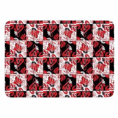 Texture Red Flowers by Maria Bazarova Memory Foam Bath Mat Size: 24 L x 17 W
