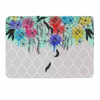 Watercolor Spring by Famenxt Memory Foam Bath Mat Size: 24 L x 17 W