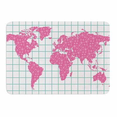 Grid Map Mint Pink by Famenxt Memory Foam Bath Mat Size: 24 L x 17 W