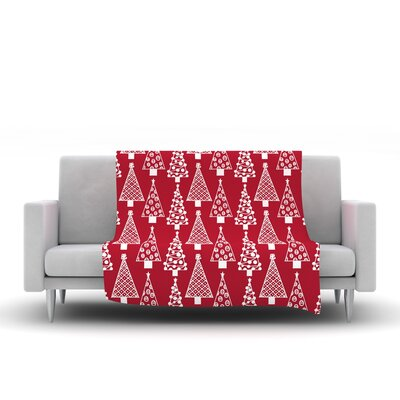 Jolly Trees by Emine Ortega Fleece Throw Blanket Size: 60 L x 50 W, Color: Red
