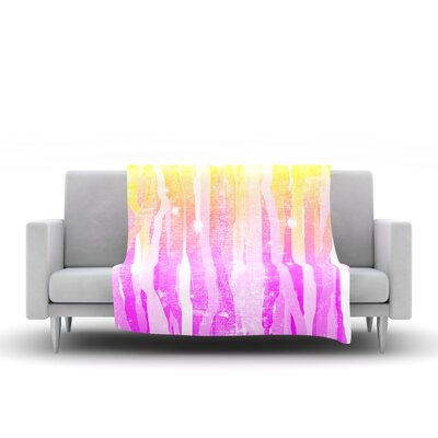 Jungle Stripes by Frederic Levy-Hadida Fleece Throw Blanket Size: 80 L x 60 W, Color: Pink