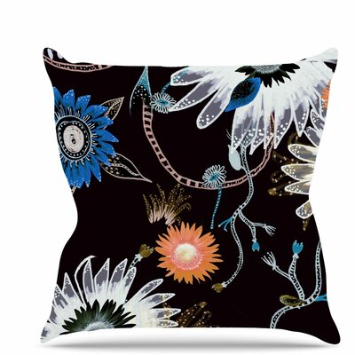 Dancing Flowers Throw Pillow Size: 18