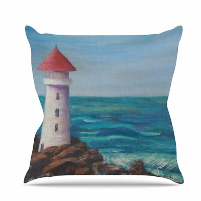 The Lighthouse Rocks Throw Pillow Size: 16 H x 16 W x 6 D