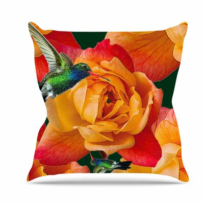 Roses in Hummingbird Throw Pillow Size: 16 H x 16 W x 6 D