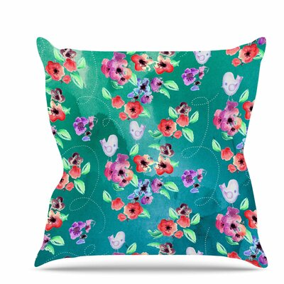 Spring Birds Throw Pillow Size: 26 H x 26 W x 7 D