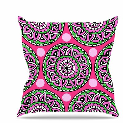 Watermelon Mandala Throw Pillow Size: 16
