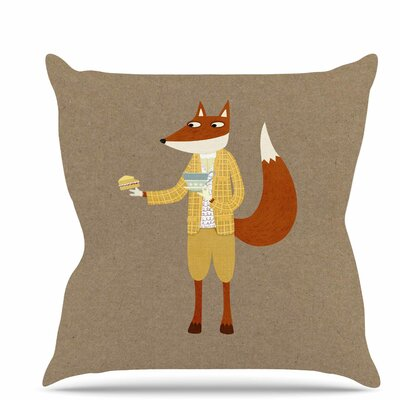 Mr Fox Takes Tea Throw Pillow Size: 20 H x 20 W x 7 D