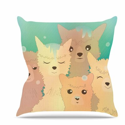 Alpacas in Snow Throw Pillow Size: 16 H x 16 W x 6 D