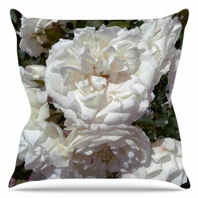Flores Blancas Throw Pillow Size: 16 H x 16 W x 6 D